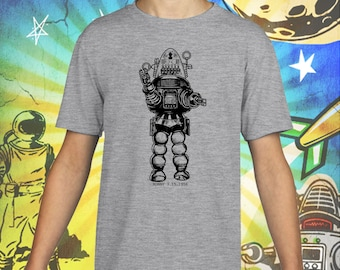 Forbidden Planet / Robby the Robot in Black / Gray Child Size Performance T-Shirt