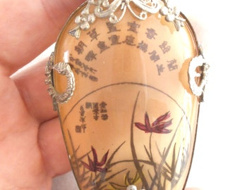 Vintage,Reversed Painted Glass Snuff Bottle,Perfume Bottle, Essential Oils, 1950's Singular Design,Collectible, Hand Made