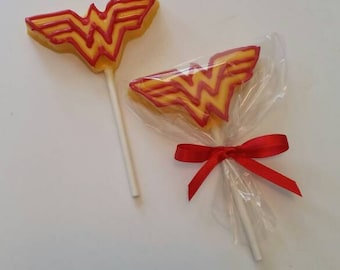 Wonder Woman Chocolate Lollipops
