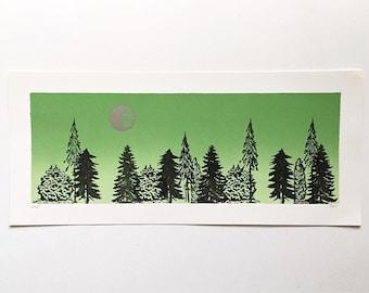 16x7 Letterpress Print  - Silver Moon over Trees
