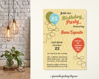 Rustic Birthday Invitation, Country Birthday Party, Shabby Chic Invitation, Adult Birthday Party, 21, 25, 30th, 35, 40, Vintage Invitation