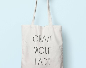 Crazy Wolf Lady Tote Bag Long Handles TB00385