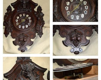 "30"" Black forest carved wood hunting clock BOAR,RABBIT,PHEASANT lodge cabin"