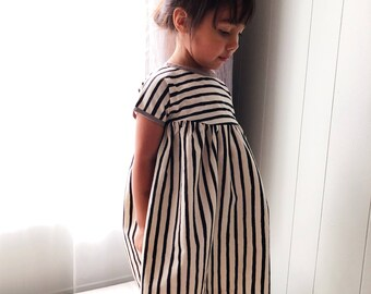 Black and Cream Striped Dress • Taupe • Girl •Baby • Rifle Paper Co. Cotton Fabric