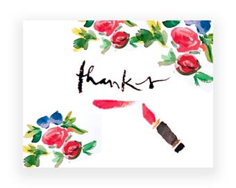 Thank You Cards: Lipstick Floral