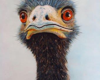 Ostrich painting oil original bird lovers wall decor nature art bird portrait 8x10x7/8