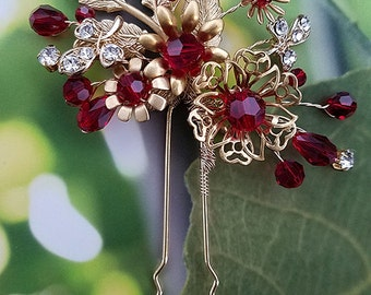 Crystal Hair Pin with Red and Gold Swarovski Crystals, Chinese Wedding, Crystal Hair Pin, Modern Tea Ceremony Headpiece