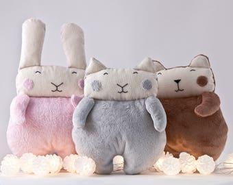 Animal Nursery Decor Toy, Toddler Toys for Girls, Cat Bear Bunny, Baby Shower Gift, Stuffed Toy, Baby Gift, Cat Lover Gift, Kids Room Decor