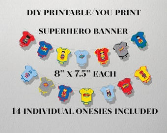 Superhero Bunting Banner, Superhero 1st Birthday Banner,DIGITAL, YOU PRINT, Superhero Baby Shower Banner,Superhero Party Banner,Superhero