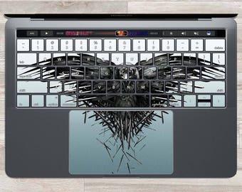Sticker MacBook Game Of Thrones MacBook peau clavier MacBook noir autocollant trois yeux Corbeau portable peau clés oiseau Trackpad épées Corneille FSM901