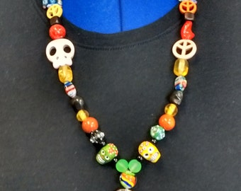 Beaded Lanyards with Skull/Peace Beads
