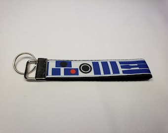 Key Fob Keychain made with Star Wars Ribbon R2D2, Star Wars Wristlet Keychain, Nerdy Wristlet Keychain, Nerdy Gift, Gifts for Nerds,