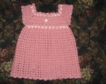Hand crocheted newborn baby dress