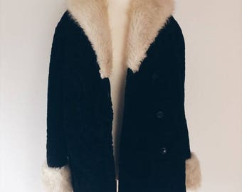 vintage black fur coat with shearling collar 60s 70s // M-L