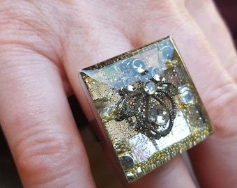 large square Adjustable ring resin inclusion, mirrors, rhinestones and arabesques