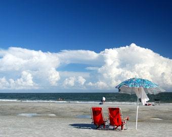 The Red Chairs, On beach Hilton Head Island, South Carolina,Orignal Fine Art Photography