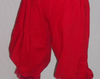 custom size red pantaloons with red lace