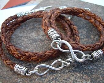 Womens Leather Bracelets, Leather Bracelets, Infinity Bracelets, Couples Bracelets, His and Her Bracelets, Set of  Infinity Bracelets,