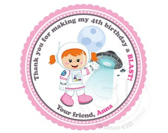 "Custom Astronaut Girl Birthday Printable 2.5"" Tags-Astronaut Space D.I.Y Tags- Personalized Stickers (You Print) 2.5"" tags-Digital file"