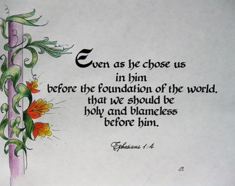 Custom Calligraphy/Bible Art/College Student Gift/Calligraphy/Made to Order/ 8x10/paper only