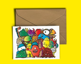 Monsters - Greeting Card - Birthday Card - Blank Inside - Colourful - Monster Illustration
