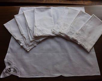 Vintage White Battenburg Lace Dinner Napkin Set ( 9 pieces)