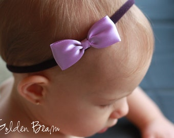 Baby Headbands Bows - Flower Girl Headband - Small Satin Lilac and Purple Bow Handmade Headband