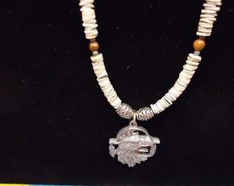 20 Inch Shell Necklace With Eagle Pendant Native American Made Waccamaw Indian