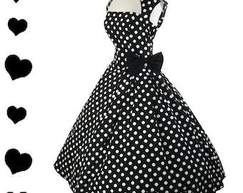 New Rockabilly Dress Polka Dot 50s Style Pinup Party Dress S M L Xl XXl 1X 2X 3X Plus Vintage Style Collar Bow Black White