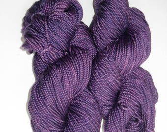 Merino Wool / Silk Yarn, Hand Dyed, Purple Worsted Weight, 200 yards