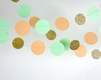 Paper Garland in  Peach, Mint and Gold, Double-Sided, Bridal Shower, Baby Shower, Party Decorations, Birthday Decoration