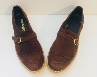 80s Brown Suede Shoes Loafers Flats Kiltie Fringe by Charm Step 7 37 unused
