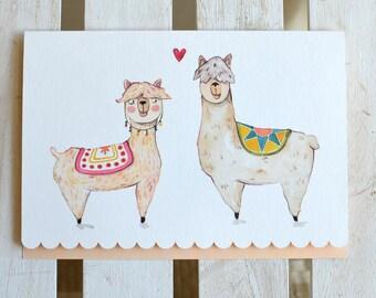 Llama Love- Anniversary card for him, Llama card, Alpaca Card, Funny Valentines Day Card, Love Card, Cute Birthday Card, Wedding Card, Love