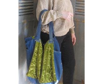 Large Upcycled Tote Bag, Denim and Tapestry, Bohemian, Gypsy Bag, Hippie Girl - CUSTOM ORDER ONLY!