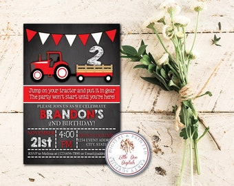 Personalized Red Tractor Birthday Party Invitation - Digital File or Printed Copies - Printable - Invitation - Invite 5x7 or 4x6 - Red White