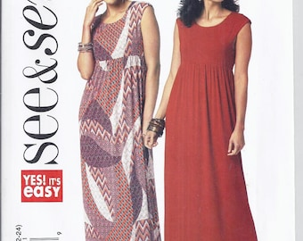 Butterick B5837 See & Sew Pattern from 2012.  Misses Loose fitting. Pullover Dress.  Bust 31 1/2-46   UNCUT  Very easy pattern