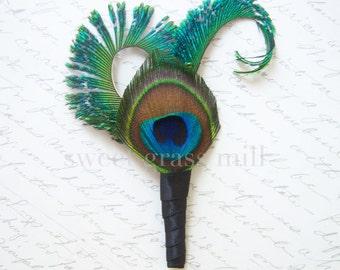 Peacock Boutonniere - KALEIDOSCOPE - Wedding Peacock Pin Brooch Buttonaire