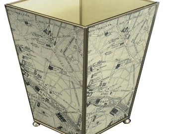 Paris Map Metal and Glass Waste Basket