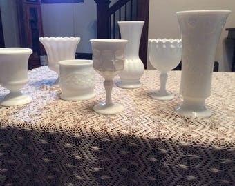 A mixed, vintage, 7 piece milk glass collection.