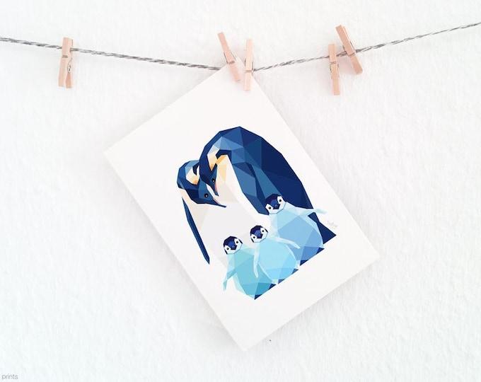 Penguin wall art, Baby penguin, Penguin family, Animal family, Baby nursery animal art, Geometric penguin, Baby animal print, Antartica art