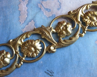 1 Ft. Raw Brass Floral Embossed Gallery Strip / Wide