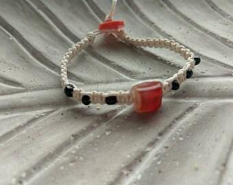White hemp glass beaded bracelet