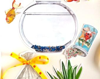 Pet Goldfish Printable DIY Card Kit | Printable Goldfish Watercolor Clipart for Art Projects