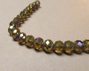 Faceted Glass Beads. Rondelle. Smoke-Black AB. Jewelry Supplies. Fall. Autumn. 6mm x 8mm. 7 inch strand.