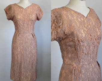 Vintage 1950s Blush Lace Wiggle Dress / 50s Illusion Lace Dress / Union Made / Sweetheart Neckline / Pencil Skirt