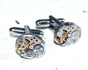 ZENITH Men Steampunk Cufflinks - HIGH END Luxury Swiss Silver Vintage Watch Movement Men Steampunk Cufflinks Cuff Links Men Wedding Gift