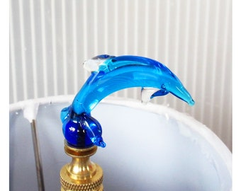 FINIAL   Venetian Glass Dolphin Lamp Finial Handmade Ocean Inspired Sea  Aqua Blue   Brass Or