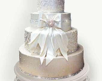 18 inch Ivory Pearl Diamond Bling Wedding Cake Stand