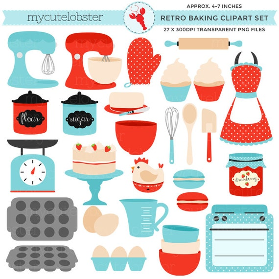 vintage baking clipart set retro kitchen red and blue clip