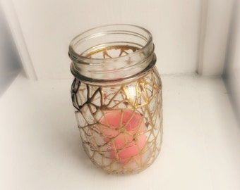 Shattered Glass Candle Holder in Gold